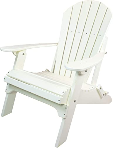 Amish Made Poly Folding Adirondack Chairs White