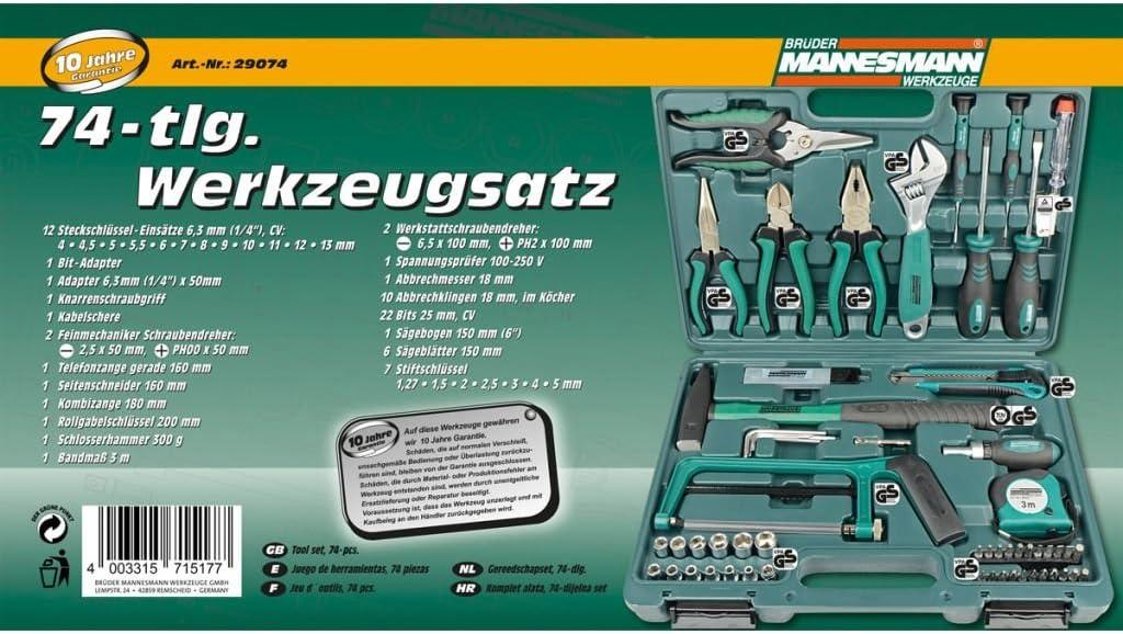 Br/üder Mannesmann 74/pezzi set di attrezzi 1/pezzi m29074