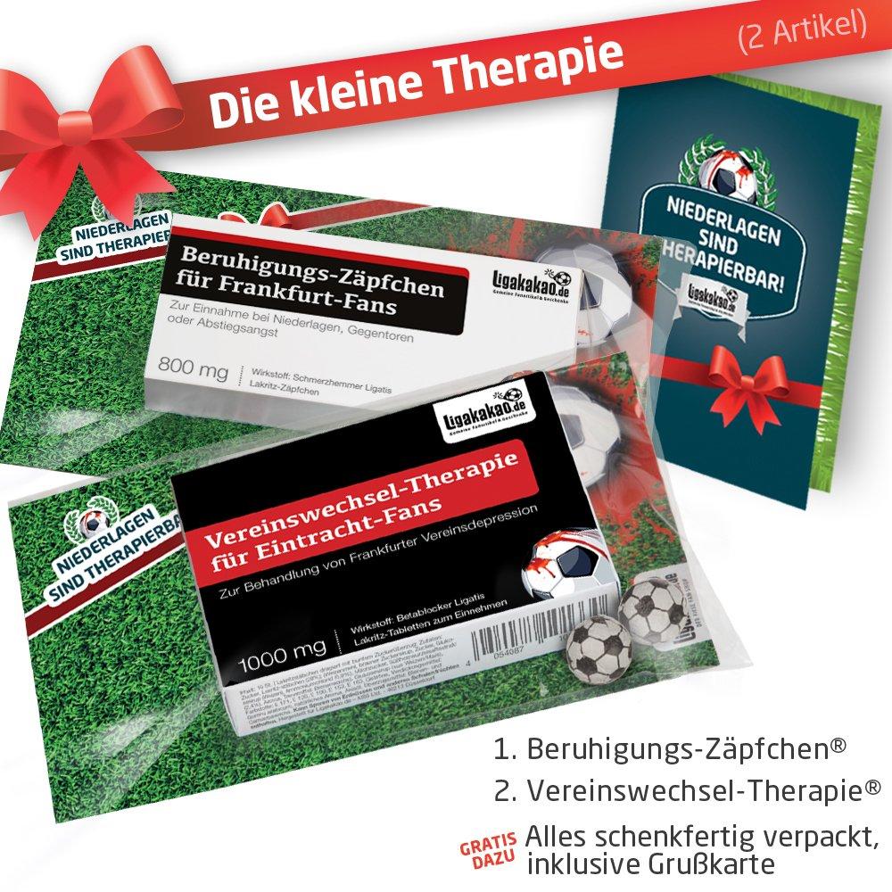 Geschenk-Set: Die Kleine Therapie fü r Eintracht Frankfurt-Fans | 2X sü ß e Schmerzmittel fü r Eintracht Frankfurt Fans Fanartikel der Liga, Besser ALS Tasse, Kaffeepott, Becher & Fahne Ligakakao.de