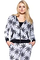 Calilogo Women's Weed Marijuana Pot Leaf Casual Jogging Pants Jacket Includes Free Gift