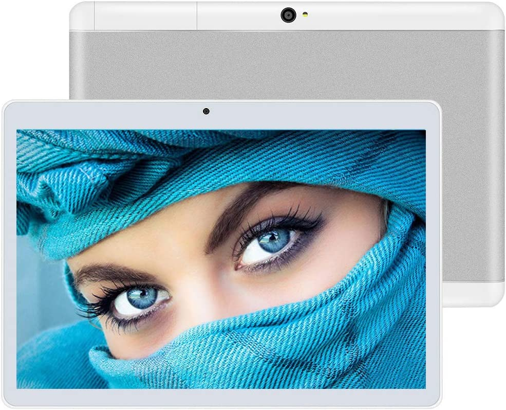 """10 inch Google Android 7.0 Tablet Unlocked Pad with Dual SIM Card Slot 10.1"""" IPS Screen 4GB RAM 64GB ROM 3G Phablet Built-in Bluetooth WiFi GPS Tablets (Silver)"""