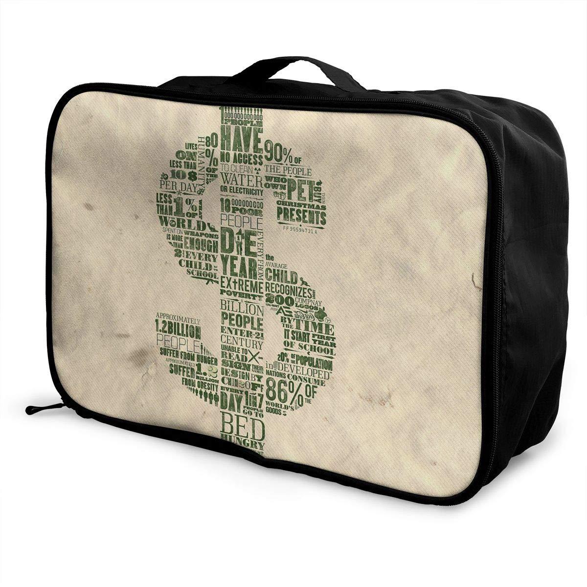 Travel Luggage Duffle Bag Lightweight Portable Handbag Dollar Money Large Capacity Waterproof Foldable Storage Tote