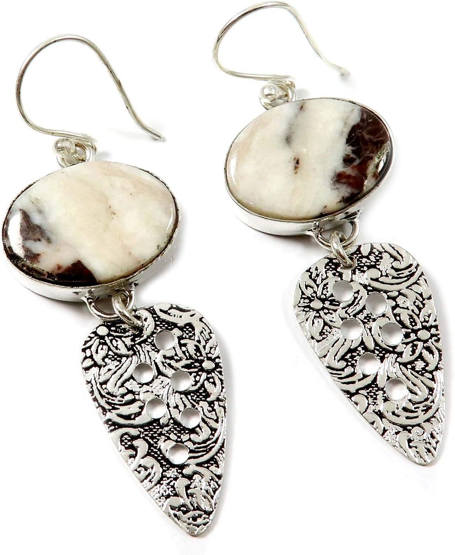 Goyal Crafts GEM55 - Pendientes de jaspe de cacao con piedra natural bañado en plata