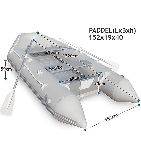 Jago Barca Hinchable para 4 Personas - 320 x 152 cm, con 2 Remos ...