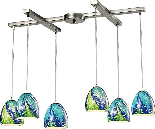 Elk Lighting 31445 6TB Colorwave Collection 6 Light Chandelier, 33 x 33 x 7 , Satin Nickel