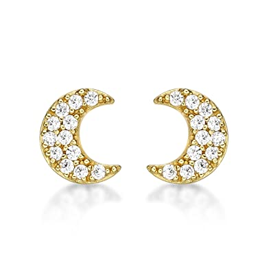 e822baa16 Diamond Treats Crescent Moon Earrings in 925 Sterling Silver. Choice of  Silver, Yellow Gold or Rose Gold with FLAWLESS White Cubic Zirconia.