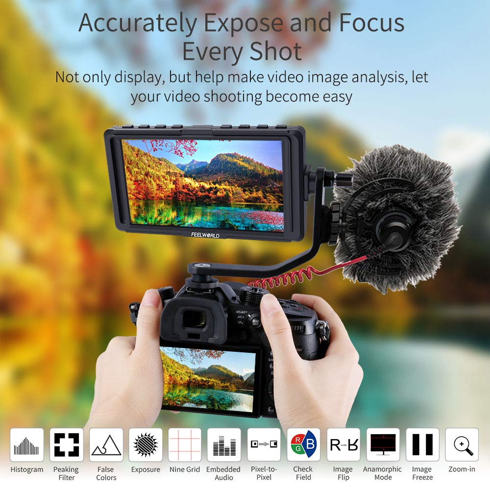 FEELWORLD F5 5 Inch DSLR On Camera Field Monitor Small Full HD 1920x1080 IPS Video Peaking Focus Assist with 4K HDMI 8.4V DC Input Output Include Tilt Arm by FEELWORLD (Image #7)