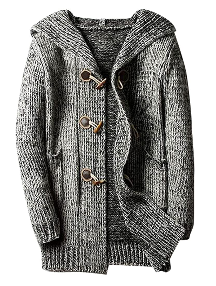 Fensajomon Mens Horn Button Long Sleeve Slim Fit Knitted Cardigan Jumper Sweater