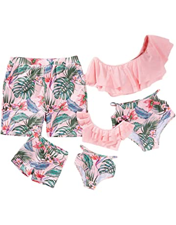 4dd44b9d6a Yaffi Family Matching Swimwear Two Pieces Bikini Set 2019 Newest Printed  Ruffles Mommy and Me Bathing