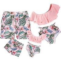 Yaffi Family Swimwear Mommy and Me Matching Two Piece Swimsuit Leaf Print Bikini Set - Navy