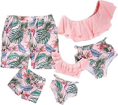 Yaffi Family Matching Swimwear Costume Two Piece Bikini Set Bathing Suit Ruffles Leaf Printed Off Shoulder Beach Wear