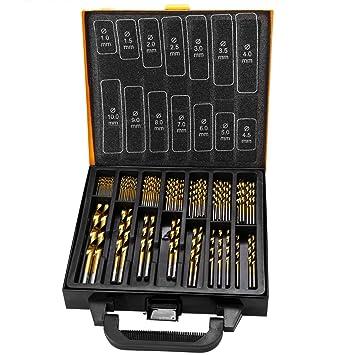 HSS-Stahl Spiralbohrer 1.5mm-10mm Werkzeug Metallbohrer Titanbohrer Set 99-tlg