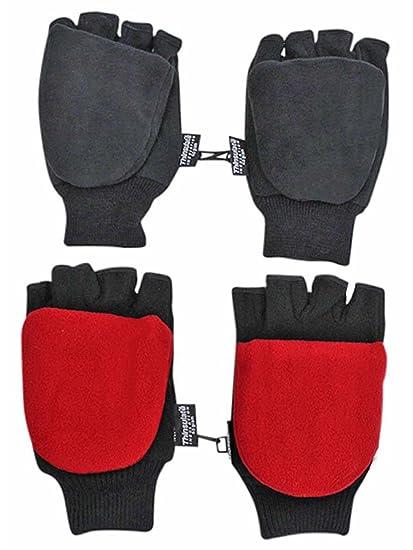 1b2d6f61682e Black & Red 2-Pack Men's Convertible Fingerless Gloves With Mitten ...