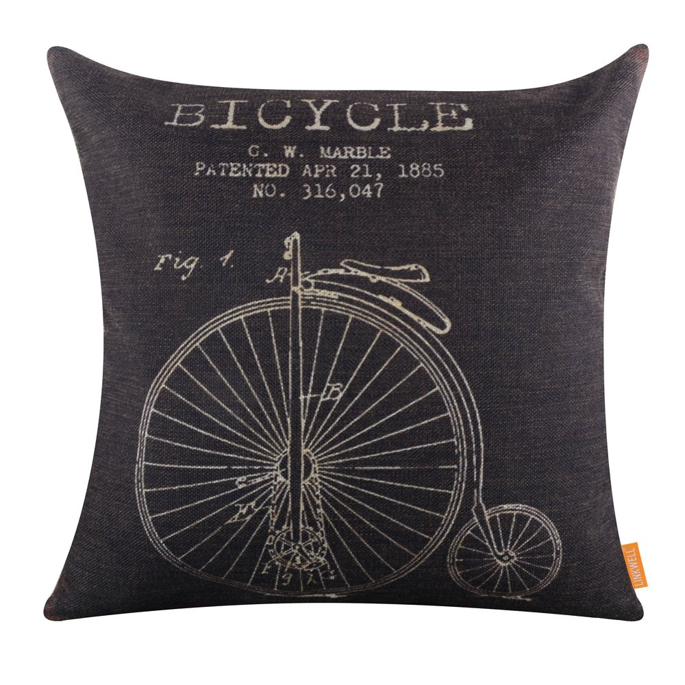 "LINKWELL 18""x18"" Retro Black Penny-Farthing Bicycle Classic Burlap Cushion Covers Pillow Case (CC1100)"