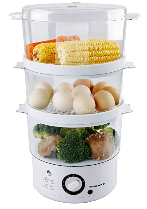 Amazon.com: Ovente 3-Tier Electric Steamer for Vegetables and Food ...