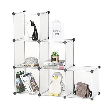 BASTUO - Estantería de Almacenamiento, 6 Cubos, Cubos modulares, Armario para Juguetes, Libros, Ropa, Color Blanco: Amazon.es: Hogar