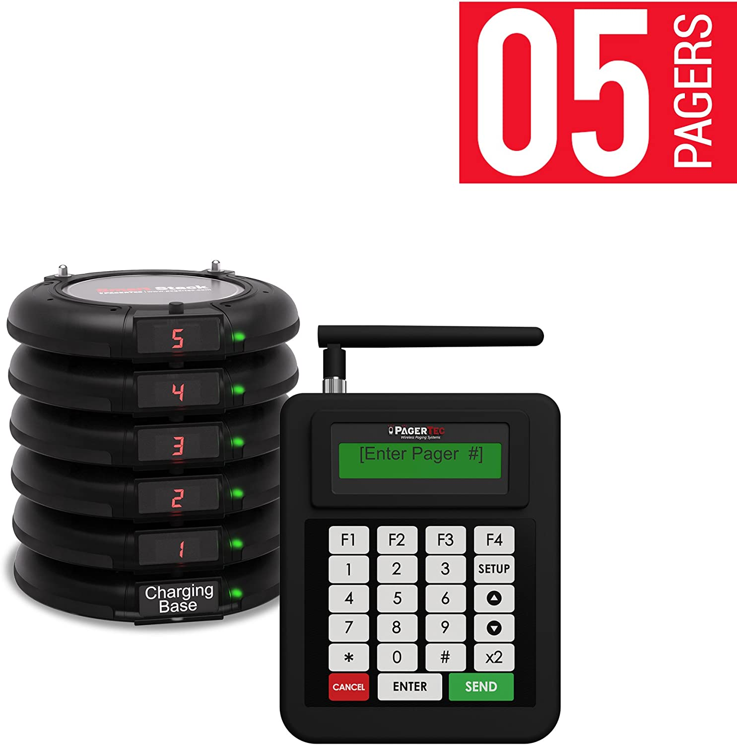 Pagertec Complete Coaster Paging System For Restaurants, Hospitals & Hotels | Consists of 1 Transmitter, 1 Charging Base & Long Range Pagers (Set of 5 Units) | Up To 2 Miles Range