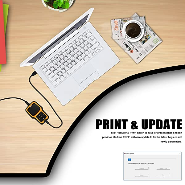 """The """"Review & Print"""" option can be used to save or print diagnostic reports as needed."""