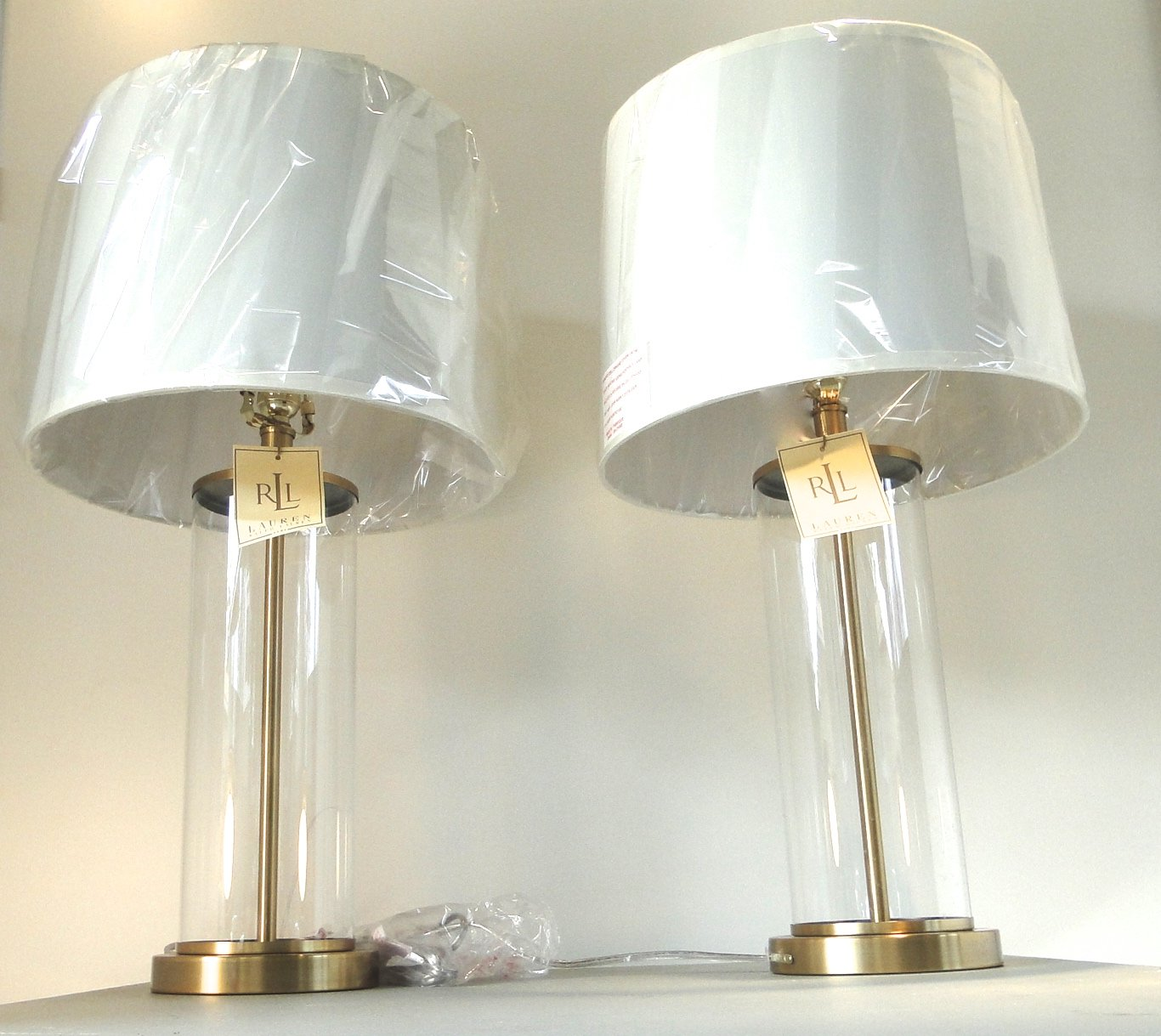 68e35a94580c Pair of Two Ralph Lauren Home Glass Cylinder and Antiqued Brass   Gold Base  Table Lamps with White Lamp Shades - - Amazon.com