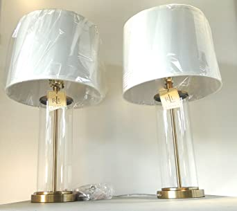 Superior Pair Of Two Ralph Lauren Home Glass Cylinder And Antiqued Brass / Gold Base Table  Lamps