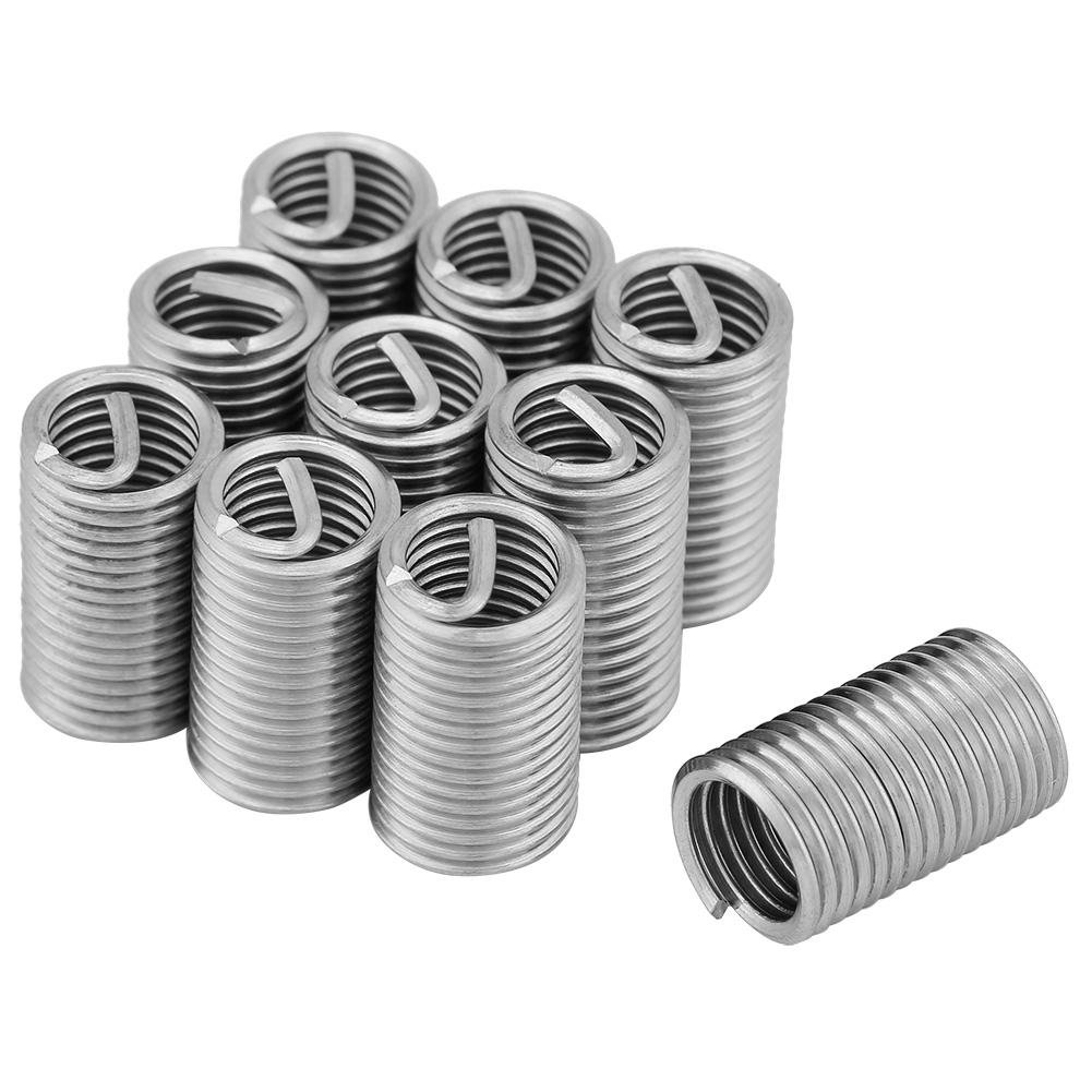 10 Pcs Wire Insert Thread 304 Stainless Steel Wire Screw Sleeve Inserts Thread Repair Kit M8x1.25x3D Walfront