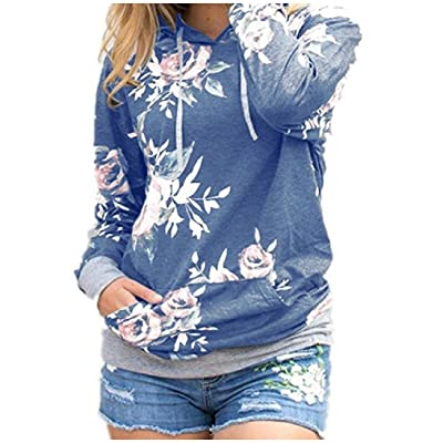 Abetteric Womens Pullover Comfy Floral Printed Long Sleeve Hoodies