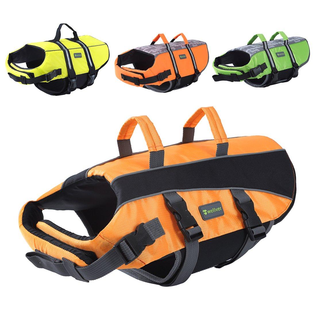 orange 2 XL orange 2 XL Wellver Dog Life Jacket, Pet Life Saver Swimsuit Preserver Training Vest for Swimming(NO Reflective Strip),Bright orange,XLarge