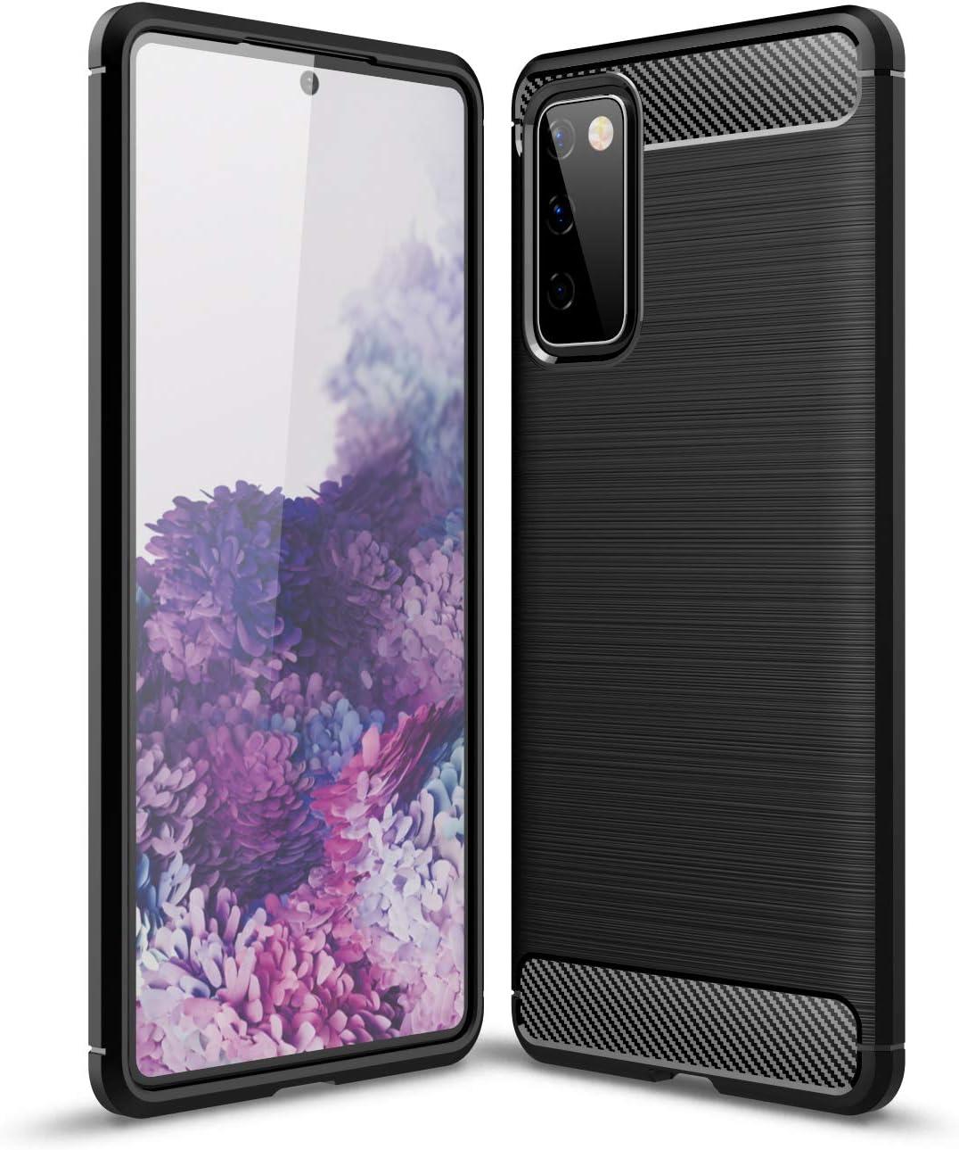 NEINEI Funda para Motorola Moto G60/G40 Fusion,Carcasa Silicona de Fibra de Carbono,Diseño Sensación Metálica,Ultradelgado TPU Outdoor Shockproof Case Cover-Negro