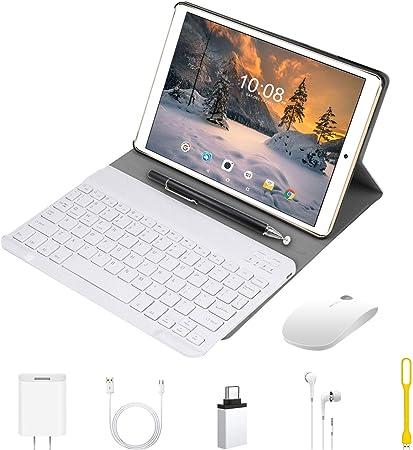 Tablet 10.1 Pulgadas 2 en 1 Tablets PC 4G/WiFi, 4GB RAM+64GB ROM/128GB Android 9.0 Octa-Core 8000mAh (Bluetooth Teclado y Estuche Protector) Dual SIM ...
