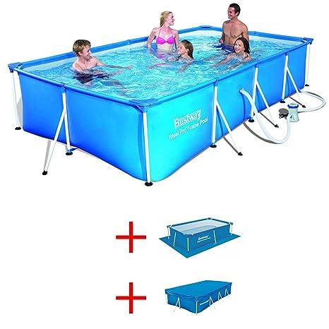 Oferta piscina Frame 400 x 211 x H81 cm + Alfombrilla + cubierta Bestway 56424