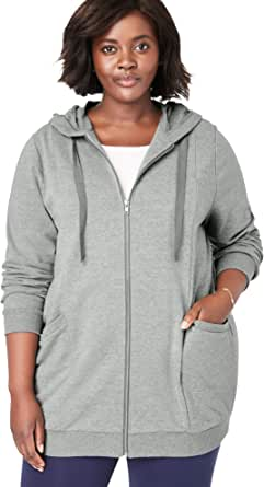 Woman Within Women's Plus Size Zip Front Tunic Hoodie