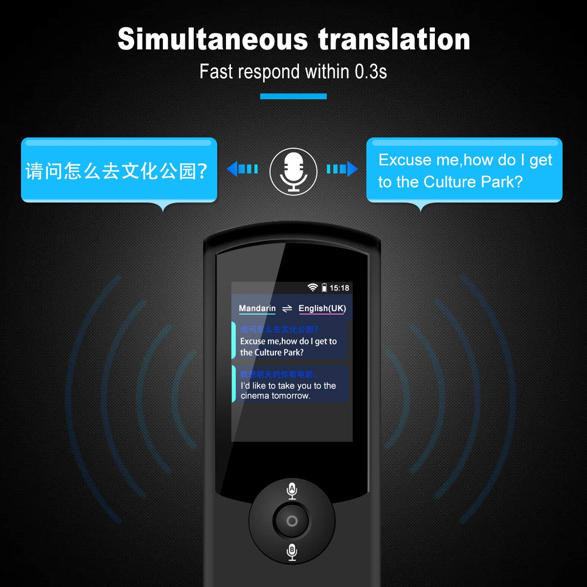 Translator Device 42 Language Two-Way Smart Voice Translator Portable Translation for Learning Travel Business Shopping Simultaneous and Accurate Response