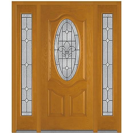 Compañía Nacional de puerta Fibra de vidrio madera de caoba prehung in-swing entrada doble puerta, CARROLLTON decorativo cristal, ovalado Lite: Amazon.es: Industria, empresas y ciencia