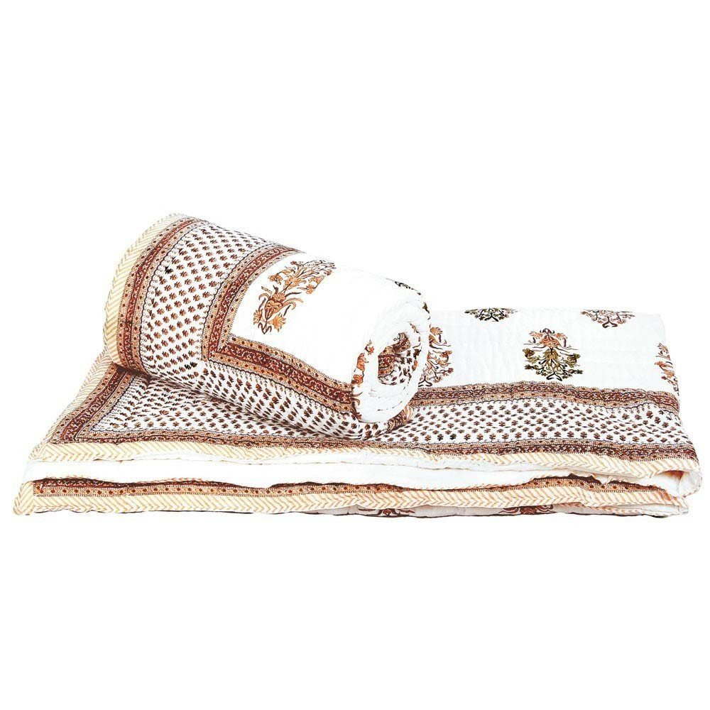 Little India Designer Brown Cotton Double Bed Comforters Pair 606