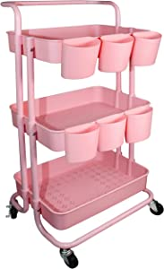 Piowio 3 Tier Utility Storage Cart Rolling Cart Organizer Shelf with 6PCS Hanging Cups for Home Kitchen Office Storage (Pink)