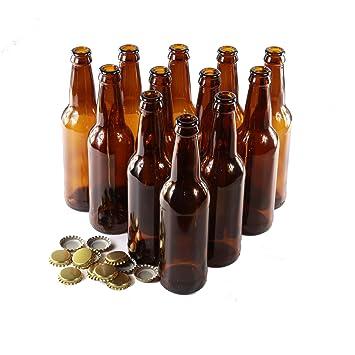Tapas de botellas de vidrio,12unidades, de color dorado, vidrio,