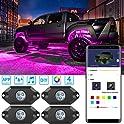 4 Pieces MINGER RGB LED Rock Lights Control Multi Color Neon Lighting Kit