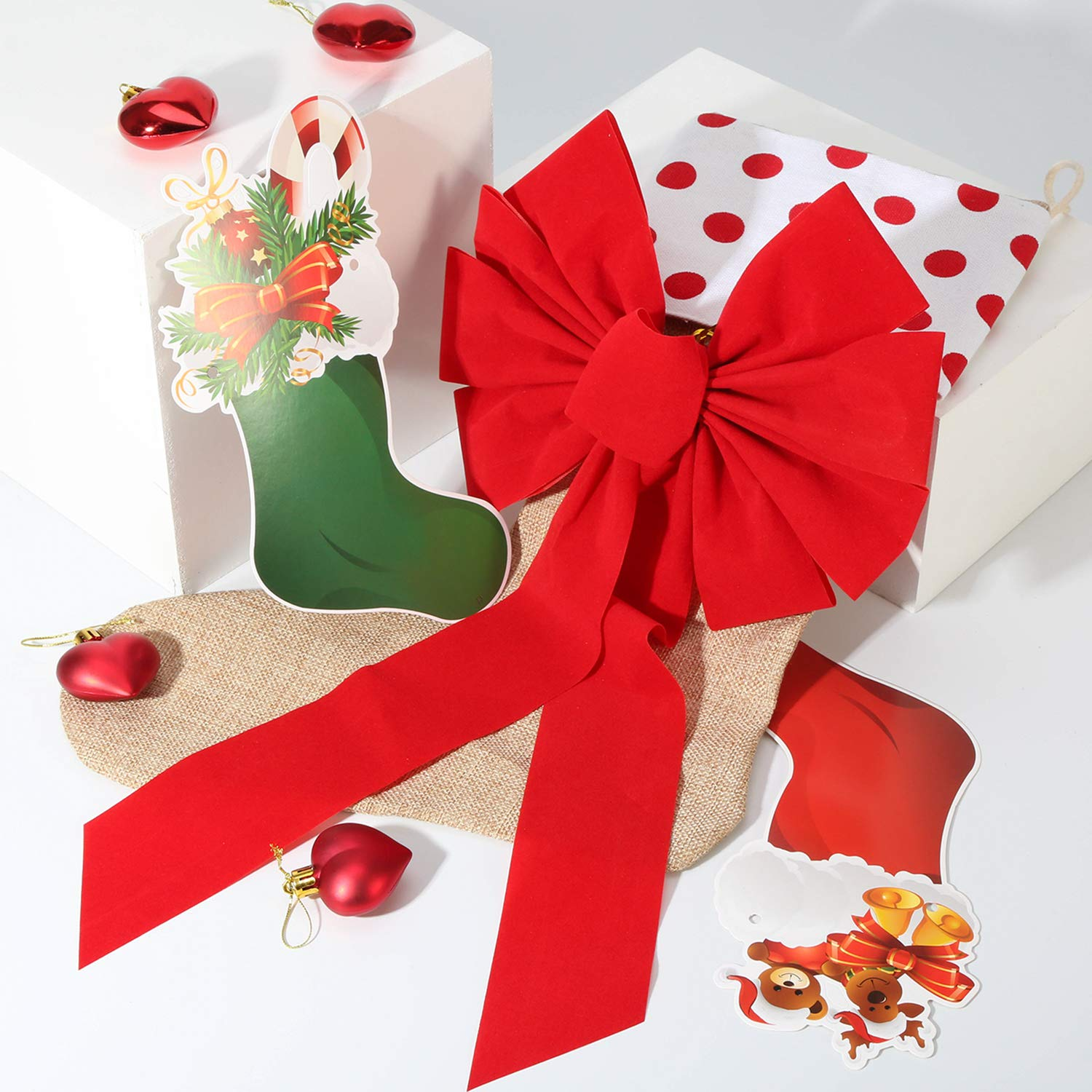 Boao Red Velvet Bow Christmas Holiday Bows for Party Wreaths Decoration 8 Pieces Totally 2 Sizes