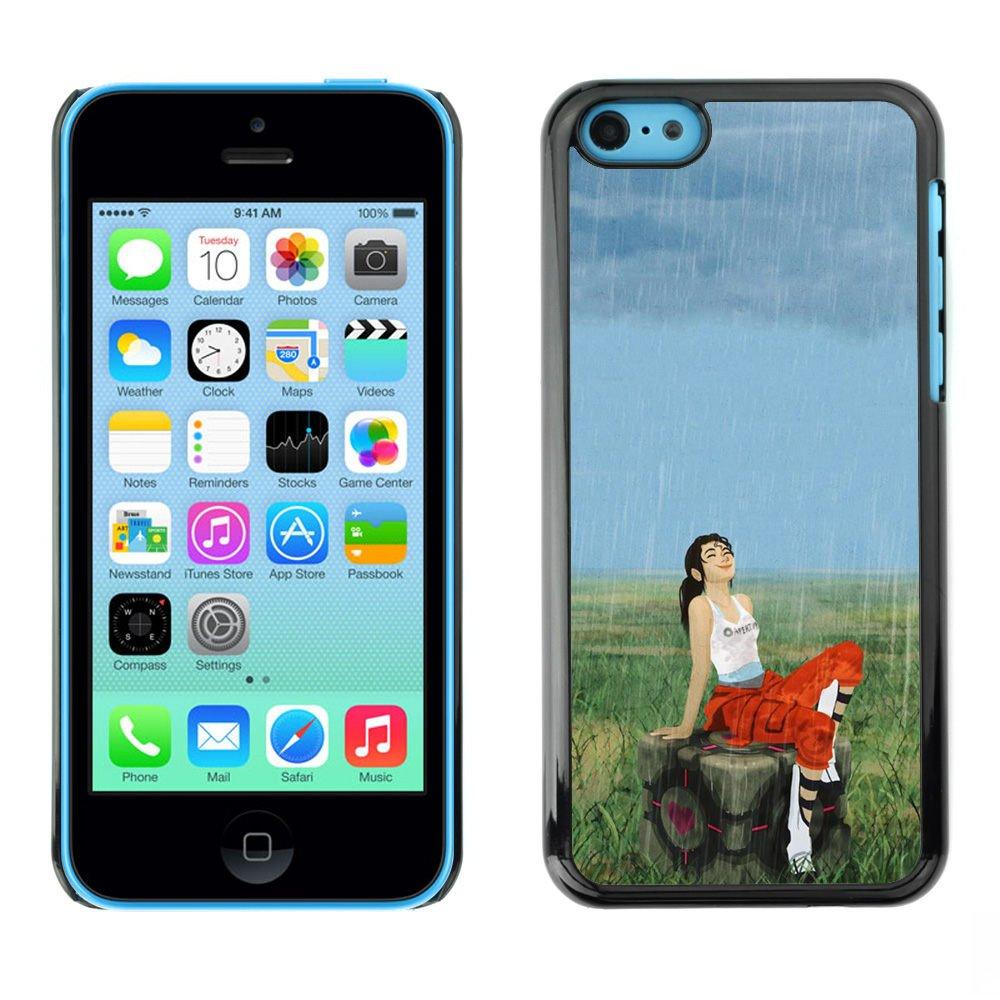 CASER CASES / Apple Iphone 5C / Aperture Girl & Rain / Custodia Snello Nero Plastica caso copertura Shell armatura Case Cover