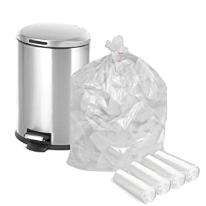 APQ Pack of 100 Garbage Can Liners 30 x 37. High Density Natural Trash Liners 30x37. Ultra Thin Design 0.39 Mil, 10 Micron. 20-30 Gallon Trash Bags for Wastebaskets. 4 Rolls of 25 Each.