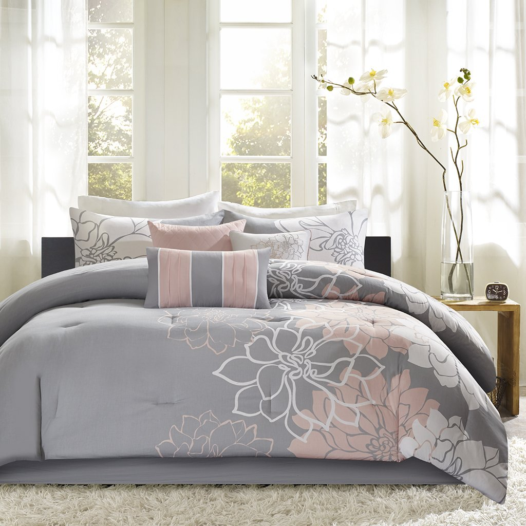 Madison Park Lola, Floral, Flowers – 6 Pieces Bedding Sets Sateen, Cotton Poly Crossweave Bedroom Comforters, King, Grey/Blush