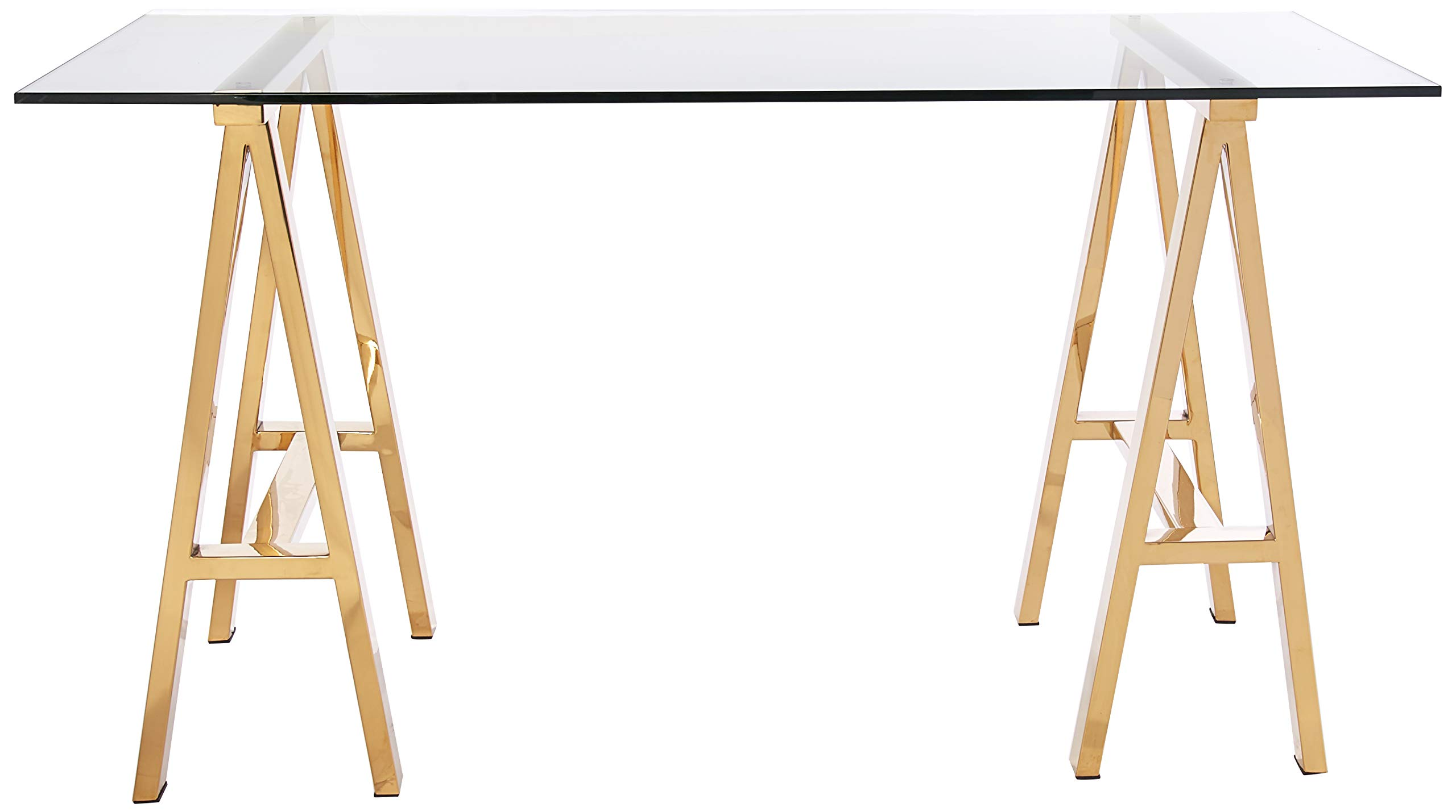 Pangea Home ZBRDY-DSK S GLD Brady Desk, Small, High Polish Gold - Manufacturer: Pangea Home Material Type: Stainless Steel and Tempered Glass Color name: High Polish Gold - writing-desks, living-room-furniture, living-room - 71RbOBBfs8L -