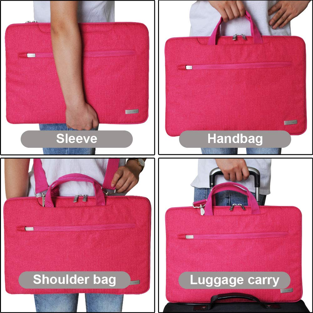 Portable Sleeve Organiser Case Cover Portable Multi-function Laptop Case with Adjustable Shoulder Strap Luggage Strap /& Suppressible Handles Pockets BLUE TECHGEAR Case for 12.8-13.3 Laptops
