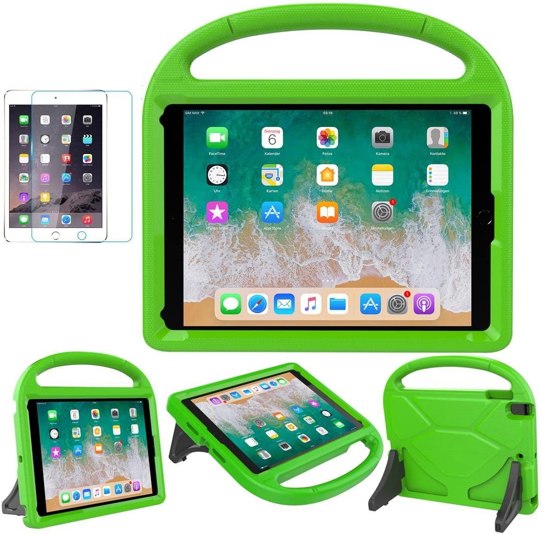 iPad 9.7 2018 2017 / Air 1/2 / Pro 9.7 Case for Kids - SUPLIK Duable Shockproof Protective Handle Bumper Stand Cover with Screen Protector for iPad 9.7 inch 5th/6th Generation, Green