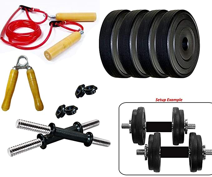 Monika Sports PVC 8 KG Dumbbell Set and Accessories Exercise Sets