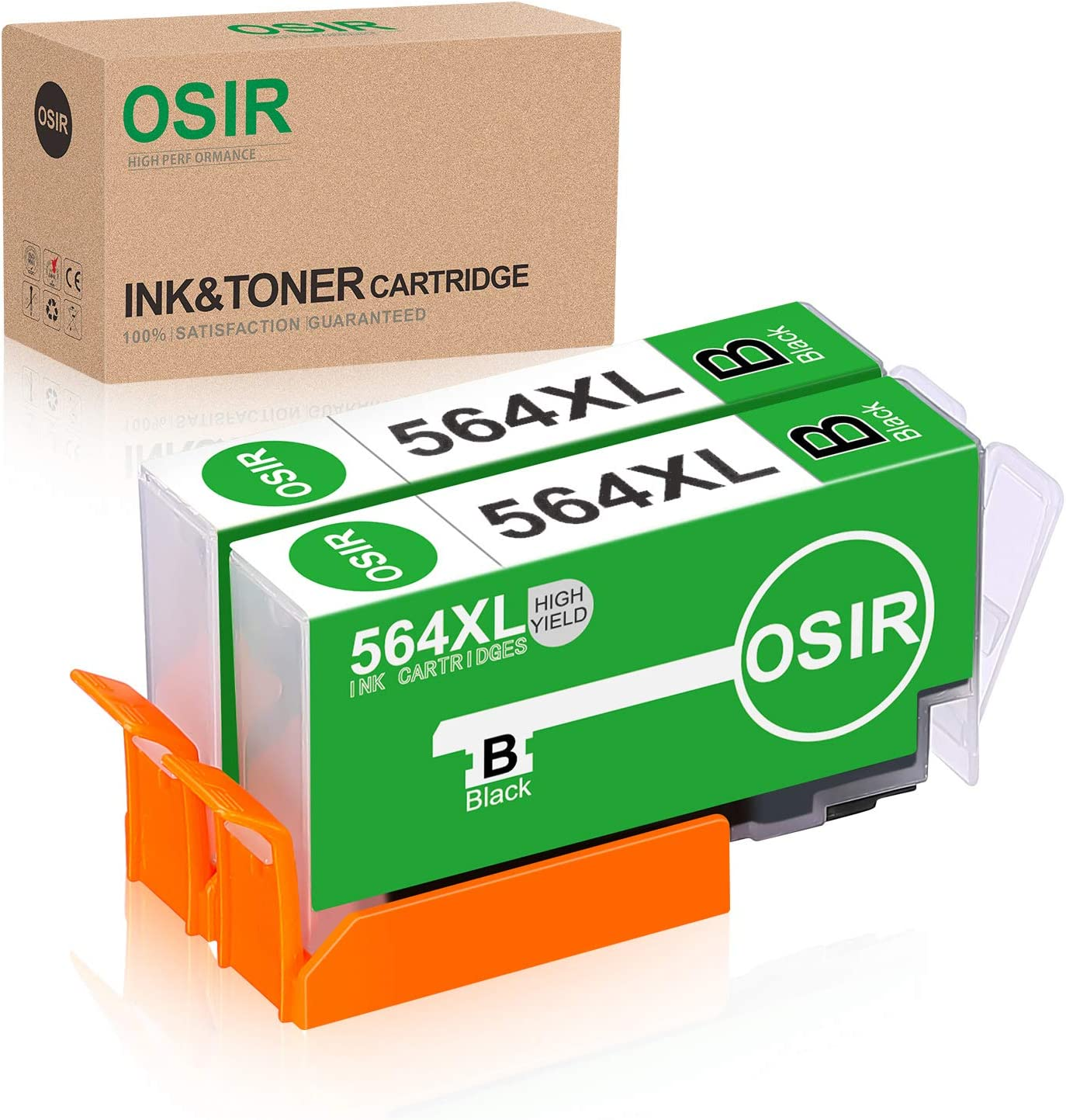 OSIR Compatible Ink Cartridge Replacement for HP 564 564XL for HP Photosmart 5520 5514 6510 6520 7510 5510 7525 7520 7515 C6380 C310a C309a C410a Officejet 4620 4622 Deskjet 3520 3521 3522 (2-Black)