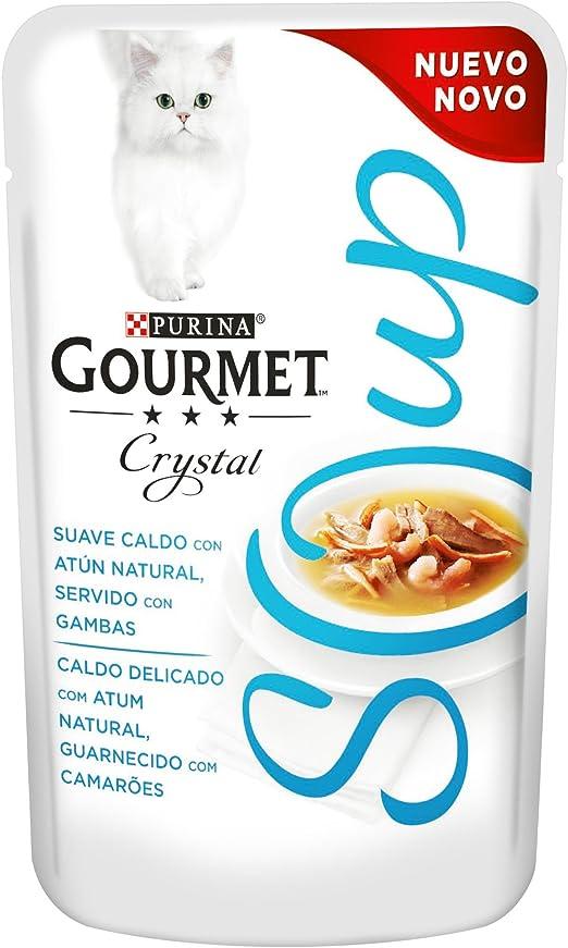 Purina Gourmet Crystal Soup comida para gatos con Atun Natural y Gambas 32 x 40 g: Amazon.es: Productos para mascotas