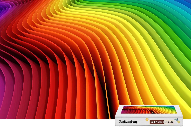 最も優遇の pigbangbang、intellectivゲームパズル木製で一意の有名な絵画壁画装飾ボックス – 虹色カーブ抽象 – – 500ピースジグソーパズル(20.6 X 15.1 15.1