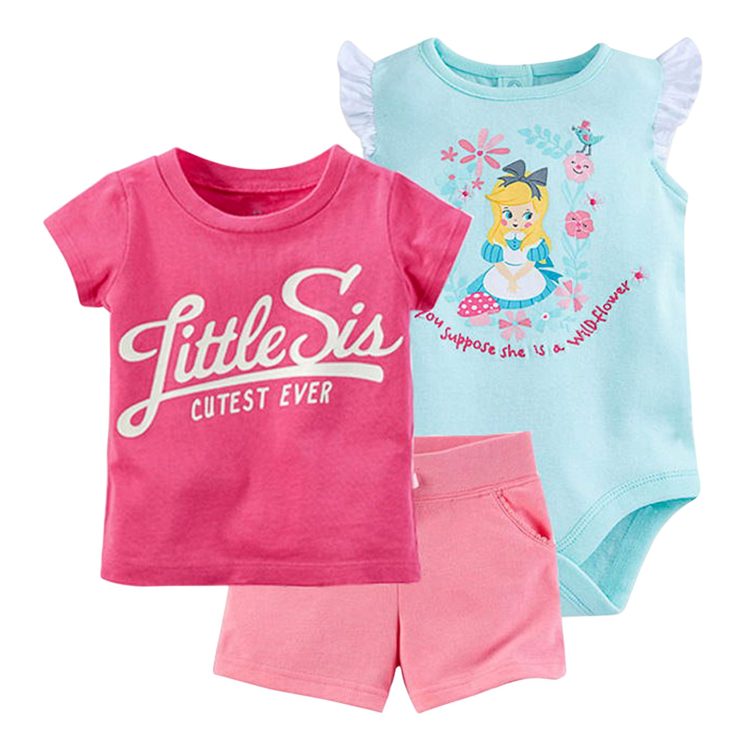 Evelin LEE 3PCS Baby Girl Shirt Romper Shorts Clothes Set Bodysuit Set Outfit