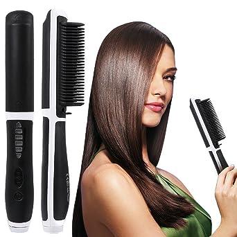 Cepillo alisador, Willdo Cuidado del cabello para calentar plancha de pelo Anión Calentamiento Styling (Blanco): Amazon.es: Ropa y accesorios
